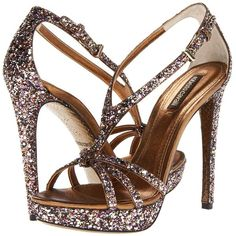 Roberto Cavalli Glitter Sandal ($465) ❤ liked on Polyvore featuring shoes, sandals, heels, high heels, sapatos, high heel platform sandals, leather sole shoes, glitter sandals, slip on sandals i glitter platform shoes