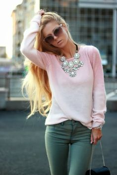 Pink Woolen Shirt With Green Pant And Necklace.