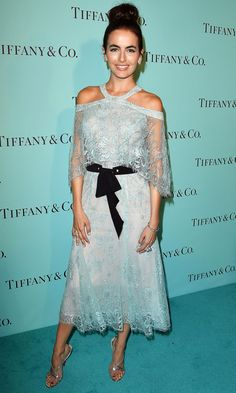 Camilla Belle is wearing a mint Monique Lhuillier lace cold shoulder midi dress with a black ruffle belt. I adore the mint color. The lace is classy and lovely. Best Celebrity Dresses, Celebrity Red Carpet, Celebrity Style, Stunning Dresses, Nice Dresses, Camila Belle, Monique Lhuillier Dresses, Batik Fashion, Marchesa