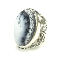 Sterling silver ring featuring oval cabochon Dendritic Opal (28 x 17mm). Bezel…
