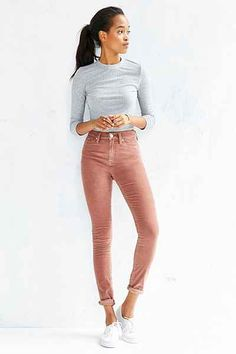 This seasons hot new trend is Corduroy pants! They are making a come back from when they left us in the and they are cuter than ever. Corduroy pants can now be found in skinny jean form and in many different colors from jewels to pastels. Mode Outfits, Stylish Outfits, Fashion Outfits, Girl Outfits, Ck Fashion, Womens Fashion, Fashion Trends, Women's Jeans, 90s Fashion