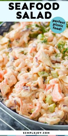 This Seafood Salad recipe only takes about 10 minutes to throw together and is so much better than what you buy at the grocery store. Great Salad Recipes, Sea Food Salad Recipes, Shrimp Recipes, Fish Recipes, Dinner Recipes, Healthy Recipes, Salad Recipes Video, Crab Meat Salad, Crab Pasta Salad