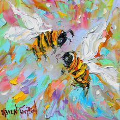 Original Spring Bees palette knife painting impressionism oil on canvas fine art by Karen Tarlton