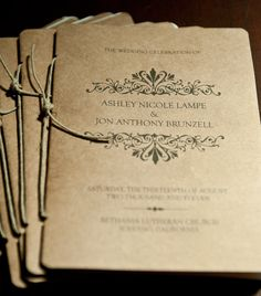 Kraft Wedding Programs by kaseyhamel on Etsy, $100.00