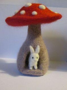 OOAK miniature bunny rabbit in mushroom toadstool house. Needle felted bear cute woodland fairy gift,ornament