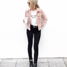 Discover the latest in women's fashion and men's clothing online. Shop from over styles, including dresses, jeans, shoes and accessories from ASOS and over 800 brands. ASOS brings you the best fashion clothes online. Coloured Denim Jacket, Pink Corduroy Jacket, Pink Denim Jacket, Pink Jeans, Denim Jeans, Pink Dress Outfits, Blush Pink Dresses, Casual Outfits, Fashion Outfits