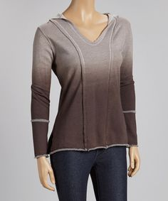 Love this Brown Ombré Distressed Hem Hooded Sweatshirt by CottyOn on #zulily! #zulilyfinds