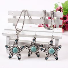 Fashion Turquoise Starfish Design Inlaid Drill Jewelry Set Exaggeration Women Ladies Earrings Necklace