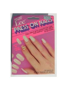 Lee Press-On Nails You wanted long, Dynasty-worthy nails in seconds? Lee Press-On Nails were every prom girl's solution to a cheap, speedy, glamazon manicure. Sure, they didn't always fit (especially the thumbs; it was like there was some lucky thumb model out there and the rest of us just had to deal with our thick stumps). Oh, and they didn't always stick so well. But we still consider them more great than grody.