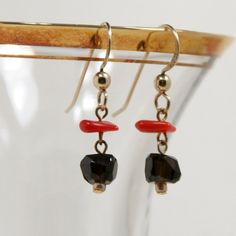 Gold Filled Earring with Garnet and Red Coral