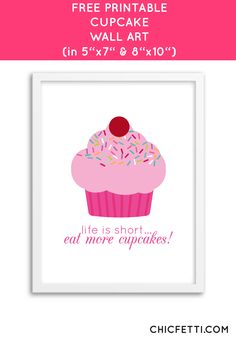Free Printable Cupcake Art from @chicfetti - easy wall art diy