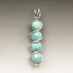 Larimar Blue Pectolite Beaded Sterling Silver Wire Wrapped Pendant, Ships Fast! #KimsJewels #Pendant