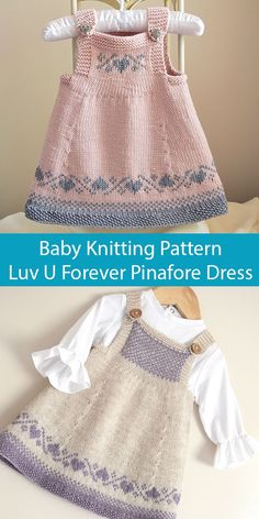 Knitting Pattern for Luv U Forever Baby Pinafore Dress - This seamless baby dress / tunic top from OGE Designs is knit in stockinette with fair isle heart designs at the bodice and hem. Knitting Baby Girl, Fair Isle Knitting Patterns, Baby Cardigan Knitting Pattern, Knitting Designs, Knitting Patterns For Babies, Finger Knitting, Knit Cowl, Loom Knitting, Knitting Ideas