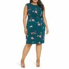 Eliza J Womens Green Floral Print Cap Sleeve Sheath Dress Plus Sz 24W NWT  | eBay Spring Dresses, Dresses For Work, Eliza J Dresses, Print Shift, Navy Women, Faux Wrap Dress, Sheath Dress, Cap Sleeves, Floral Prints