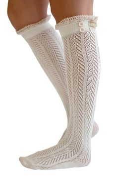 The Original Button Boot Socks with Lace Trim Boutique Socks by Modern Boho Aqua at Amazon Women's Clothing store: