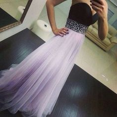 High Quality Light Lavender Tulle Prom Dresses 2016, Long Prom Dresses 2016, Prom Gowns, Evening Gown