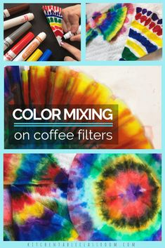 Use Markers And Coffee Filters To Experiment With Color Mixing And Create Some Awesome Tie Dye Designs. This Is An Easy One Day Process Art Project Or Just The Beginning. These Colorful Circles Can Be Used For Flowers, Snowflakes, Butterflies, And Toddler Art Projects, Easy Art Projects, Projects For Kids, Coffee Filter Art, Coffee Filter Crafts, Coffee Filter Projects, Easy Art Lessons, Art Lessons Elementary, Vintage Design