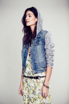Free People Womens Knit Hooded Denim Jacket