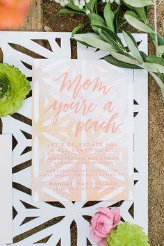 Peach mother's day brunch invite