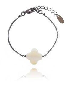 pulseira van cleef branca e rodio negro semi joias