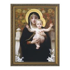 The Virgin of the Lilies w/ Gold Frame