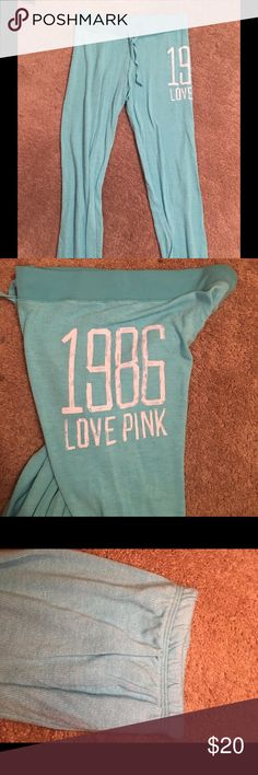 Victoria's Secret PINK sweatpants. Light blue color. Sort of tight at the bottom. Thin material. PINK Victoria's Secret Pants Track Pants & Joggers