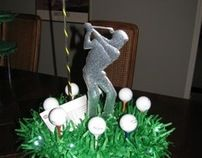 Custom designed decorations, invitations and place cards for golf-themed party. Golf Centerpieces, Golf Crafts, Bar Mitzvah Party, Funeral Memorial, 65th Birthday, Golf Quotes, Grad Parties, Party Themes, Party Ideas