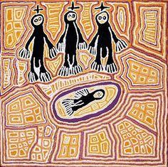 Linda Syddick Napaltjarri, Three Wise Men, acrylic on belgian linen, Muk Muk Fine Art Gallery. Aboriginal Symbols, Aboriginal Dot Painting, Aboriginal Culture, Aboriginal People, Sand Painting, Desert Art, Three Wise Men, Indigenous Art, Native Art