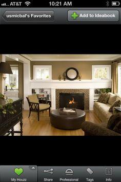 Fireplace wall custom shelving idea