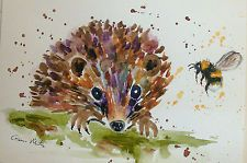 Colourful Hedgehog 2 & a Bumble bee Original   watercolour painting Size A4