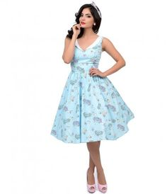 A pastel profusion patterned in a splash of sea creatures! A darling vintage inspired frock fresh from Hell Bunny, The S...Price - $82.00-563kMxnS