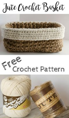 Crochet Iphone Crochet Jute Basket Pattern - Crochet 365 Knit Too. This basket is easy, fun and great home decoration. - Fun and free Crochet Jute Basket Pattern. Quick and inexpensive to make! Bag Crochet, Crochet Shell Stitch, Crochet Diy, Crochet Basket Pattern, Crochet Purses, Crochet Stitches, Crochet Baskets, Crochet Basket Tutorial, Knit Basket