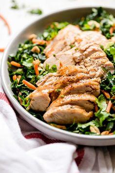 Chicken Kale Salad with Peanut Vinaigrette