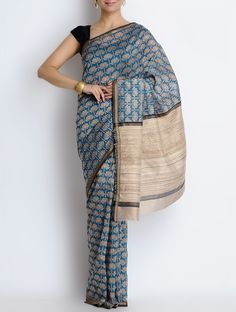 Buy Beige Indigo Cotton Silk Handblock Printed Saree Sarees Romantic Impressions Hand Block & Dupattas in Online at Jaypore.com