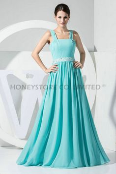 Aliexpress.com : Buy A line Floor Length Straps Chiffon with Beading Prom Dresses from Reliable chiffon prom dress suppliers on HONEYSTORE CO., LIMITED $358.58