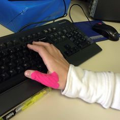 Is your keyboard leaving you with throbbing thumbs? Kinesio Tape can help! #kinesio #kinesiotape #hands #thumbs #orthoco http://www.orthoco.com/Kinesio_Tape_s/3.htm PhotoCredits: Kinesio Tape