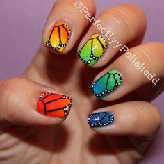 Perfect butterfly wing nail art