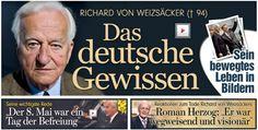 """""""Wir verlieren einen großartigen Menschen"""" Bundespräs. Gauck+das polit. Berlin würdigen den verstorbenen Alt-Bundespräs. als herausragendes Staatsoberhaupt http://www.bild.de/politik/inland/richard-von-weizsaecker/im-alter-von-94-jahren-gestorben-39578776.bild.html http://www.bild.de/politik/inland/richard-von-weizsaecker/rede-zum-40-jahrestag-des-endes-des-zweiten-weltkrieges-39551920.bild.html…"""