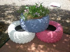 outdoor projects, design d cor, gardening, the first 3 of 6 painted tire planters I need to get plants and then done Yeah Tire Garden, Garden Pots, Garden Ideas, Herb Gardening, Pallets Garden, Garden Crafts, Flower Planters, Flower Pots, Old Tire Planters