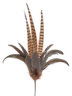 Decorative Pheasant Feather Spray in Brown Green.jpg