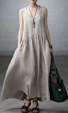 Stylish Vovo Beige Linen V-neck Sleeveless Ruffled Long Dress - Mode Frauen Boho Fashion, Womens Fashion, Fashion Design, Fashion Art, Vintage Fashion, Linen Tunic, Cotton Linen, Linen Dresses, Maxi Dresses