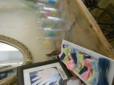 Wyatt's Little man party favors. I modge podge scrapbook paper to plastic cups, easy and cheap