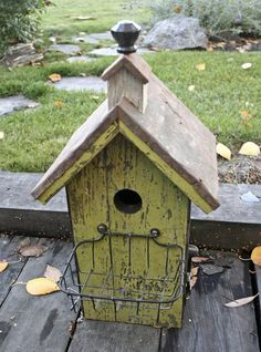 Black Glass Knob Topper Birdhouse,,, I like the basket to catch the baby birds from falling all the way out