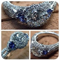 In love with the sapphires and the twisted band...This would be gorgeous with an oval diamond! Verragio Venetian-5032R