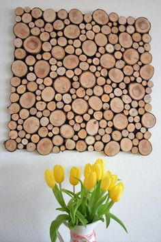 Wanddeko - Wandbild Holzscheiben Holzstapel Holzbild  - ein Designerstück von Felicitas-Rieser bei DaWanda