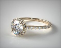 14K Yellow Gold Pave Halo and Shank Diamond Engagement Ring (Round Center)