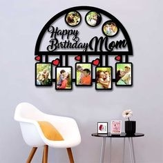 Birthday Photo Frame, Birthday Photos, Wall Clock With Pictures, Happy Birthday Mom, Frame Sizes, Frames On Wall, Laser Cutting, Framed Art, Personalized Gifts