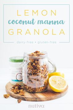 This granola is just the right balance of sweet and slightly tangy—it's the perfect springtime snack! Easy to make and to delicious to eat in a parfait or even just with your favorite plant-based milk. Sweet Recipes, Whole Food Recipes, Keto Recipes, Snack Recipes, Coconut Manna, Lemon Coconut, Keto Granola, Granola Cereal, Pumpkin Breakfast