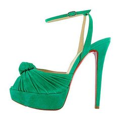 Christian Louboutin Greissimo Mule Knotted Platform Sandals Green