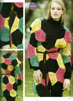 crochelinhasagulhas: Casaco em square colorido em crochê